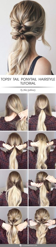 Easy And Chic Double Topsy Tail Hairstyle #topsytail #tutorials #hairstyles #ponytail #longhair