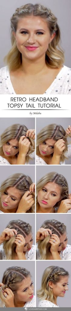 Retro Headband Topsy Tail #topsytail #tutorials #hairstyles
