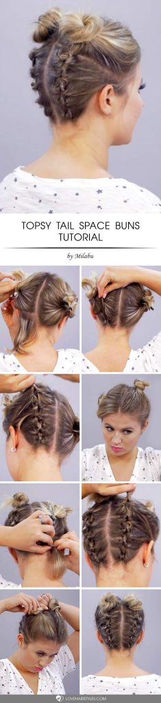 Upside Down Topsy Tail Space Buns #topsytail #tutorials #hairstyles #bunhairstyles