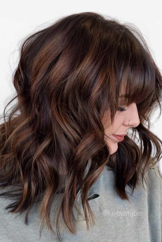 Modern Shag With Bangs #featheredhair #featheredhaircuts #haircuts #mediumhair