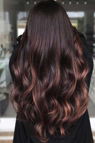 Mahogany Toned Brunette With Highlights #redhair #mahoganyhair