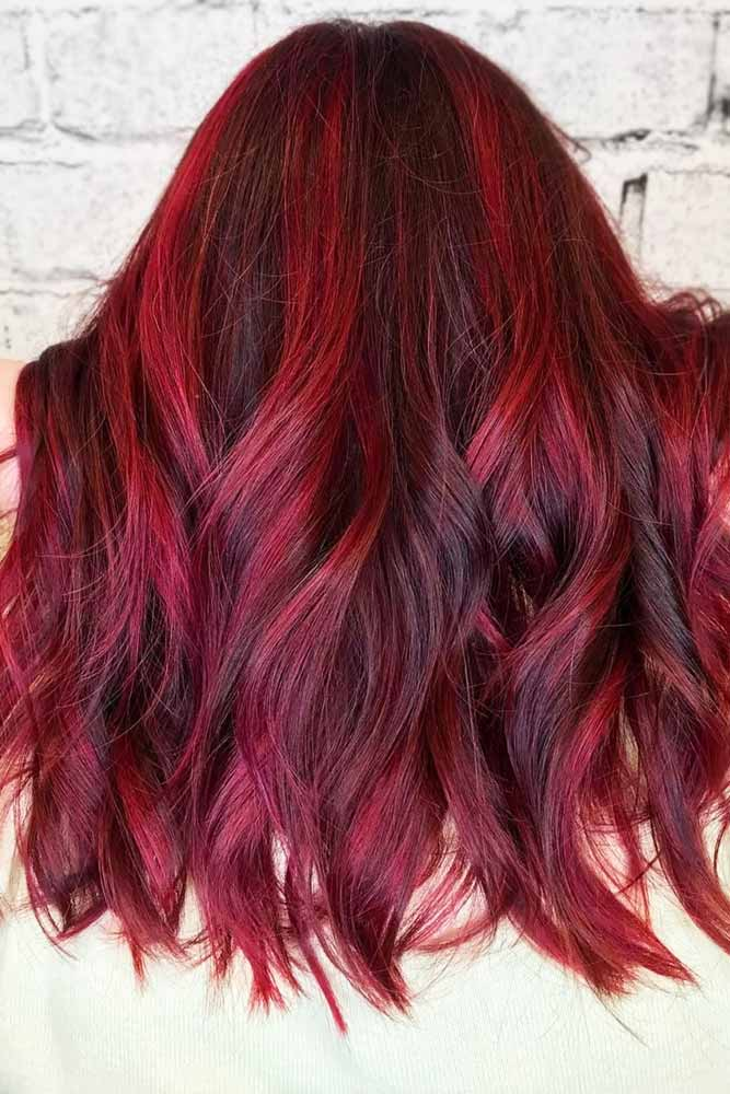 Mahogany Hair With Raspberry Strands #redhair #highlights #brunette
