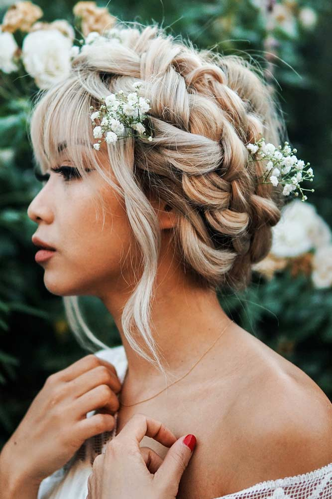 Braided Updo With Floral Accessories #asianhairstyles #hairstyles #updohairstyle #blondehair