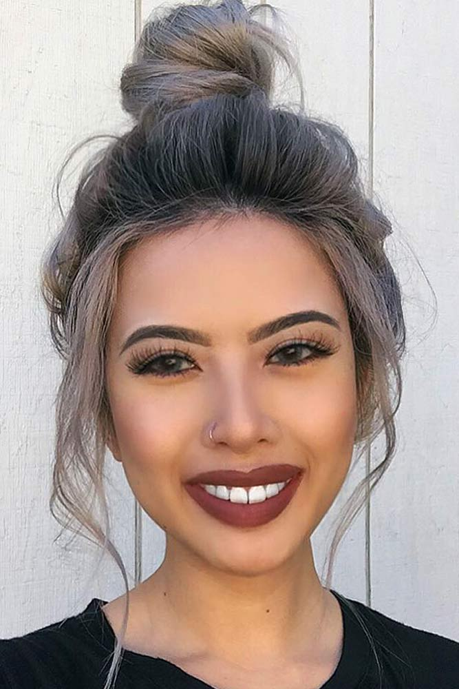 High Bun Hairstyle #asianhairstyles #hairstyles #bunhairstyle #greyhair