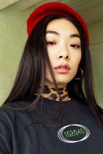 Long Straight Styling With Beret #asianhairstyles