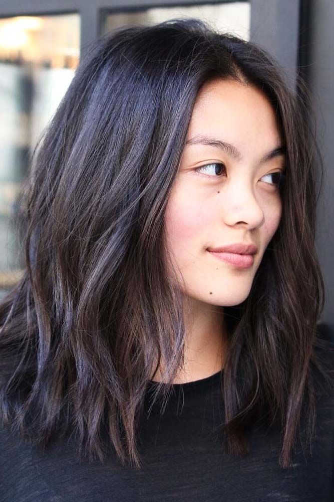 Middle Parted Medium Length Hair #asianhairstyles #hairstyles #lobhairstyle