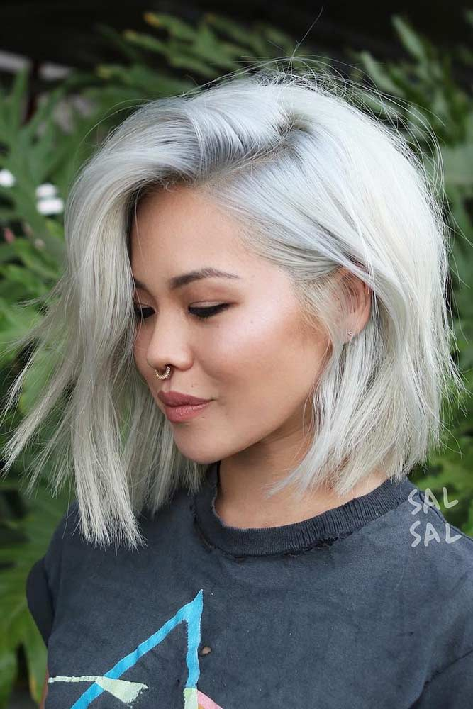 Side Parted Lob #asianhairstyles #hairstyles #lobhairstyle #blondehair