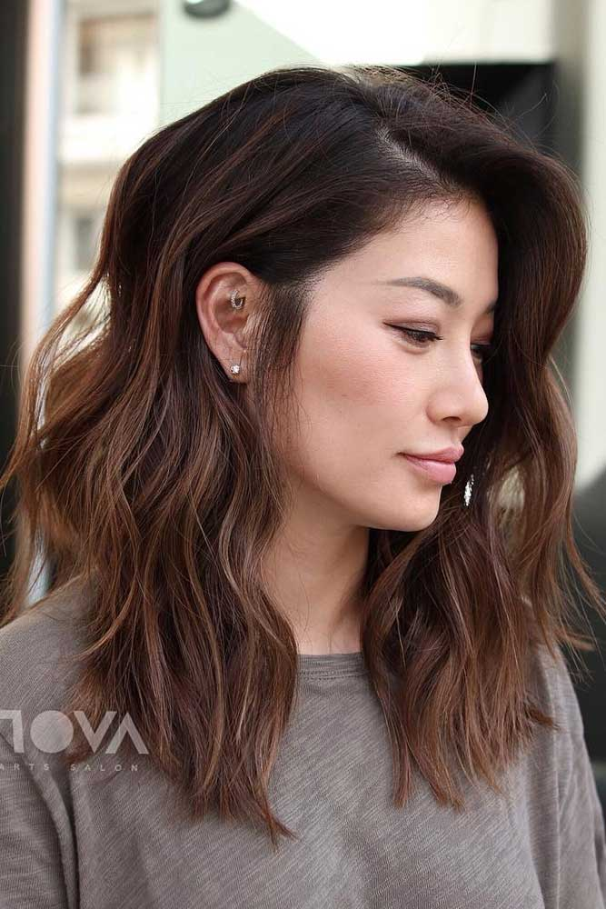 Side Parted Long Shag #asianhairstyles #hairstyles #longhair