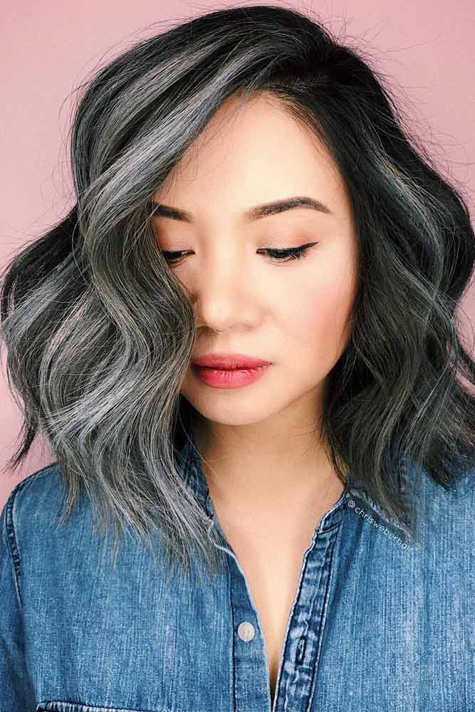 Side Parted Wavy Shoulder Length Hairstyle #asianhairstyles #hairstyles #lobhairstyle #wavyhair