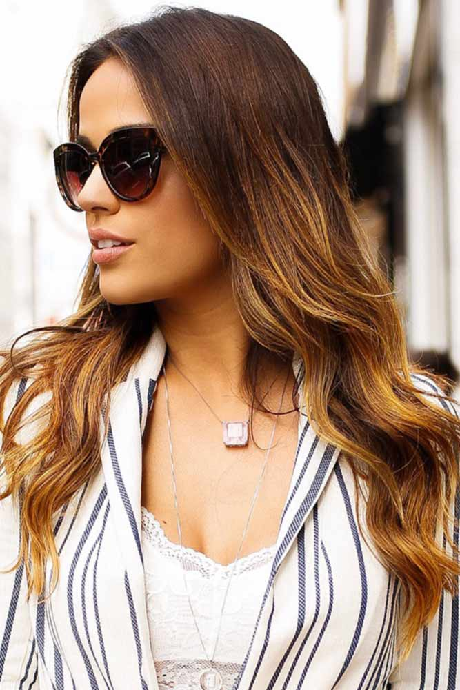 Caramel Blonde Partial Highlights #highlights #brunette #ombre