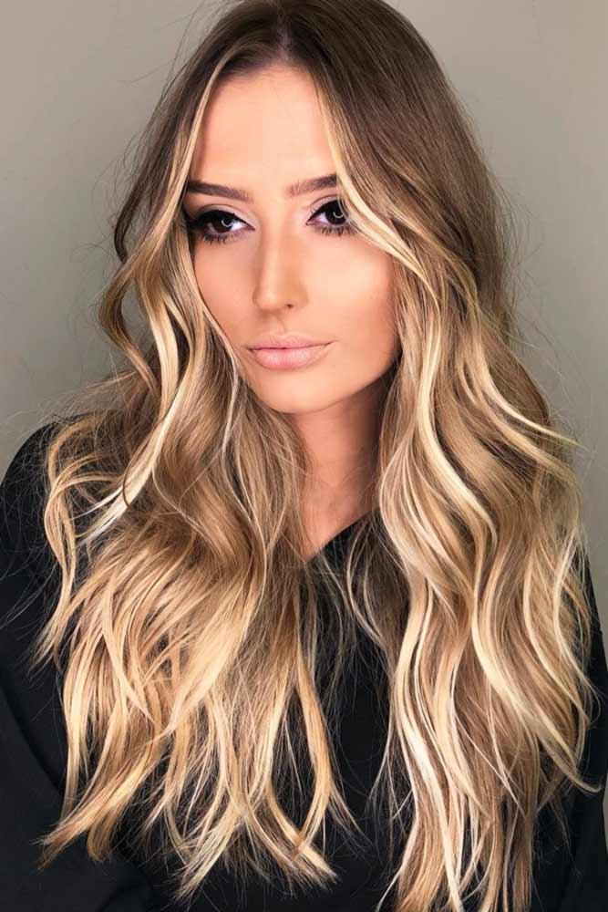 Medium Brown Hair With Buttery Blonde Highlights #highlights #brunette #wavyhair #longhair