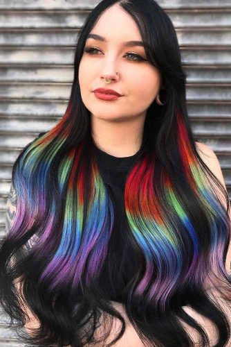 Rainbow Coloring #temporaryhaircolor #brunette
