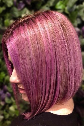 Milkshake Lilac And Eggplant Over Blonde Foils #temporaryhaircolor #pinkhair #highlights