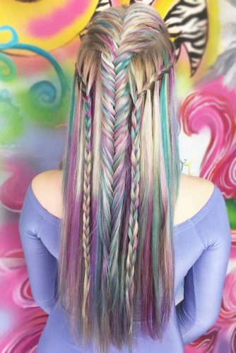 Pink And Green Streaks #temporaryhaircolor #pinkhair #greenhair