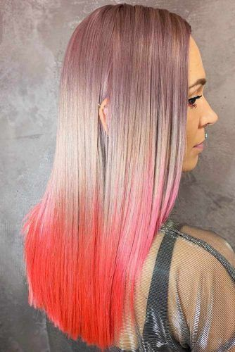 Dusty Lilac With Bright Orange Ends #unicornhair #ombre