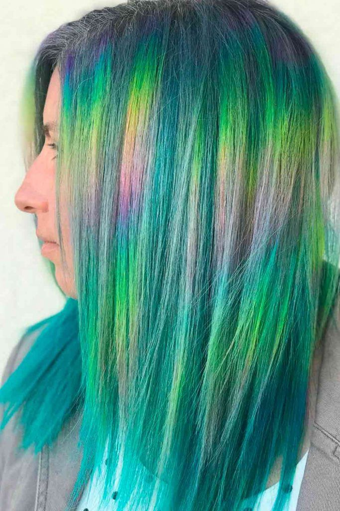 Green Accent Unicorn Hair