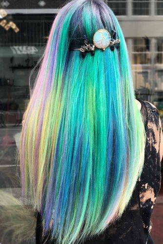 Green Accent Unicorn Hair #unicornhair #greenhair