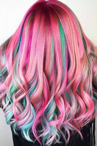 Green Highlights With Pink Base #unicornhair #highlights