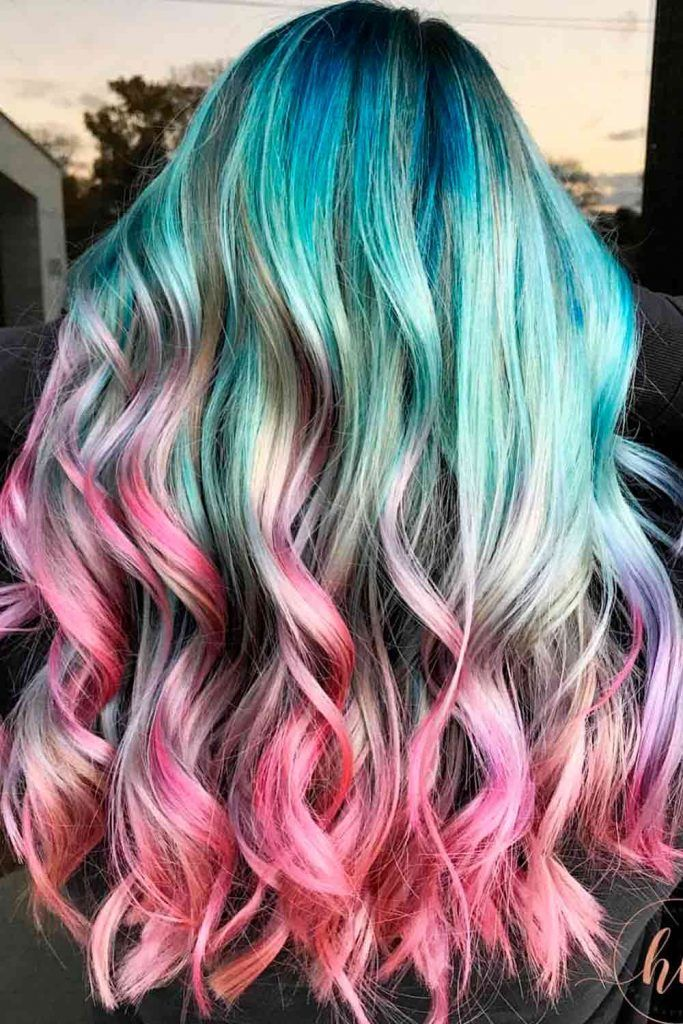 Pastel Unicorn Blue To Pink Hair