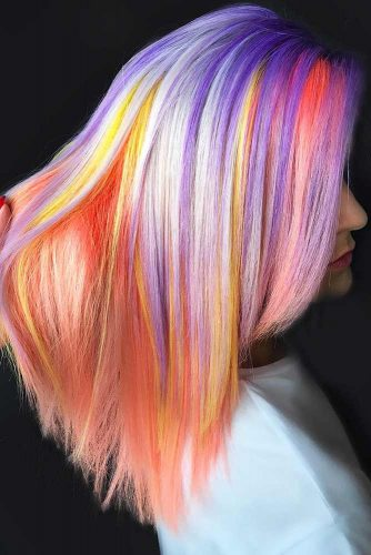 Peachy With Purple #unicornhair #highlights