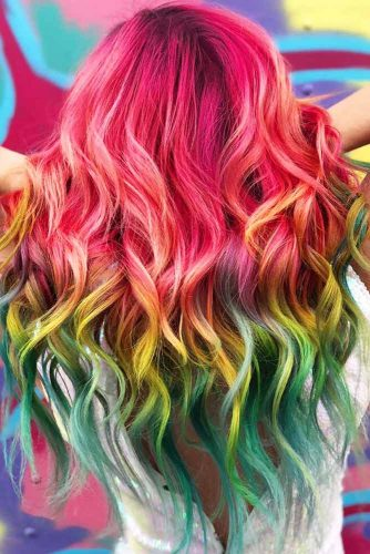Red, Yellow, Green Combo #unicornhair #ombre