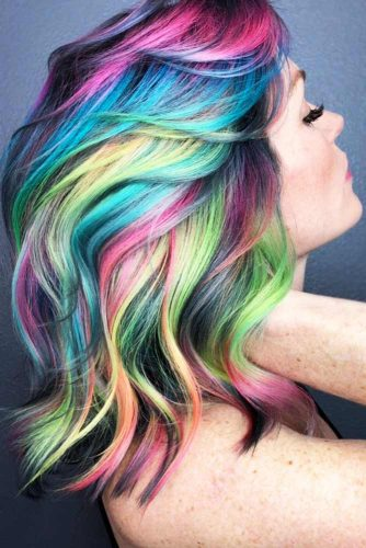 Smokey Neon Shine-Lines #unicornhair #rainbowhair