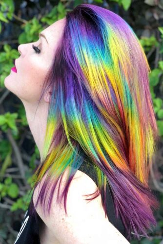 Unicorn Hair With Violet Roots #unicornhair #rainbowhair