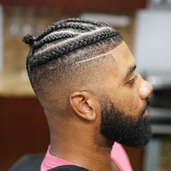 Braided Top Skin Fade #blackmenhairstyles #blackmenhaircuts