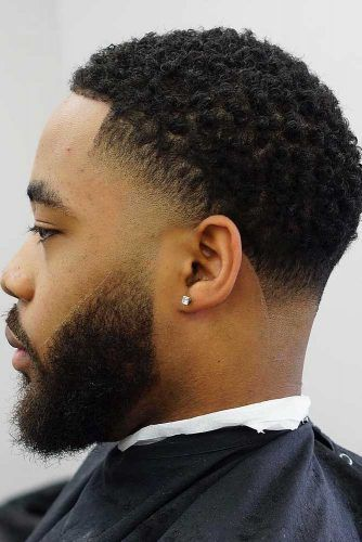 Curls With Temple And Nape Fades #blackmenhairstyles #blackmenhaircuts