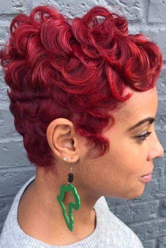 Red Finger Waves For Short Hair #fingerwaves #hairstyles #shorthair #pixiecut