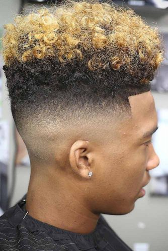 Two Toned Flat Top #flattophaircut #coloredhair #curlytop