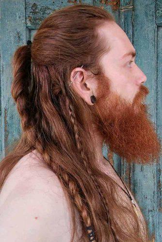Simple Braids With Long Mane And Beard #manbraid #vikinghairstyles #vikinghair