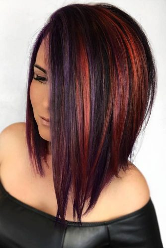 Amethyst Copper #redhair #brunette #purplehair #highlights