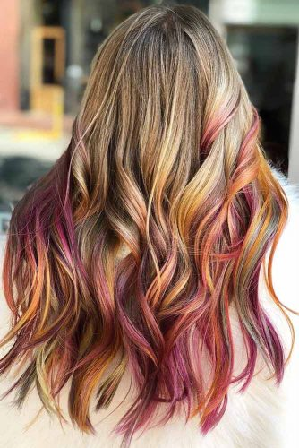 Blonde With Pastel Red Highlights #blondehair #redhair #highlights