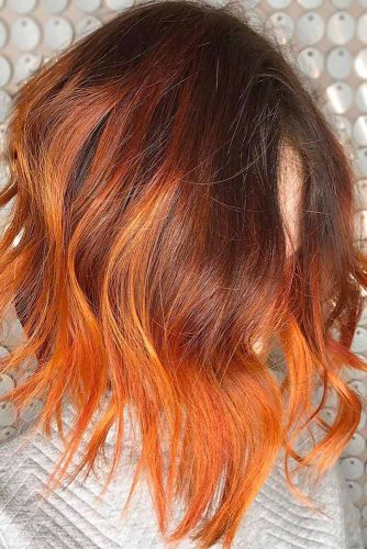 Fiery Light Red #redhair #highlights #brunette