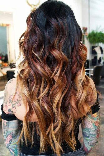 Red-to-Blonde Gradient #brunette #blondehair #redhair #highlights
