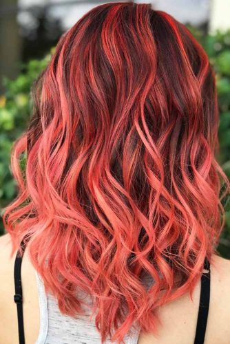 Red Highlights With Light Ends #brunette #redhair #highlights