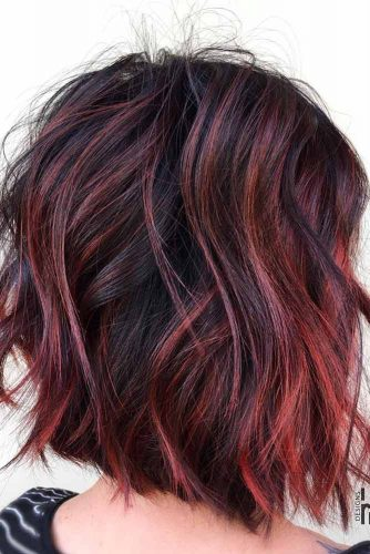 Intense Violet Red Highlights #brunette #redhair #highlights