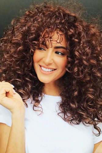 Layered Spiral Perm With Soft Fringe #spiralperm #curlyhair #longhair #bangs