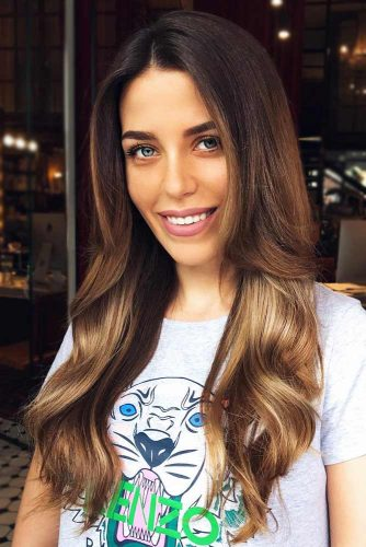 Gold Ombre On Dark Brown Base #brownhair #blondehair #brunette #ombre
