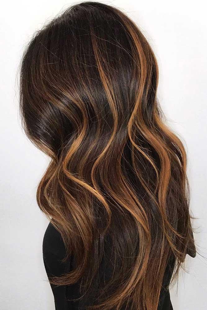 Deep Brown With Golden Streaks #brownhair #brunette #highlights