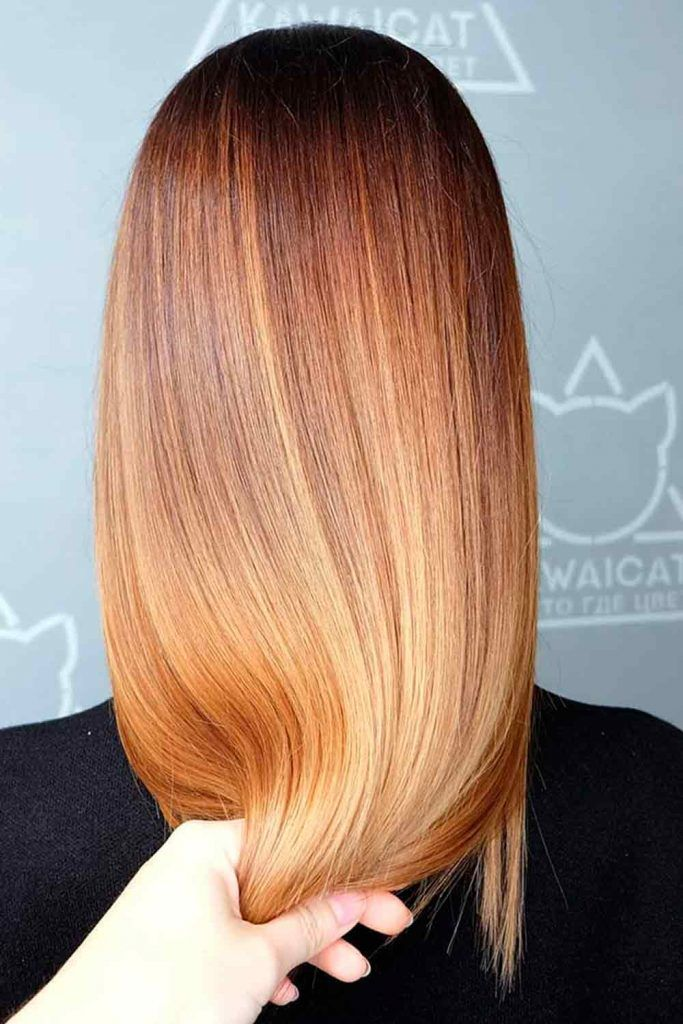 Light Golden Brown With Black Roots #ombrehair #ombre