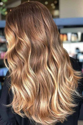 Golden Brown Partial Highlights #highlights #brownhair #goldenbrownhair
