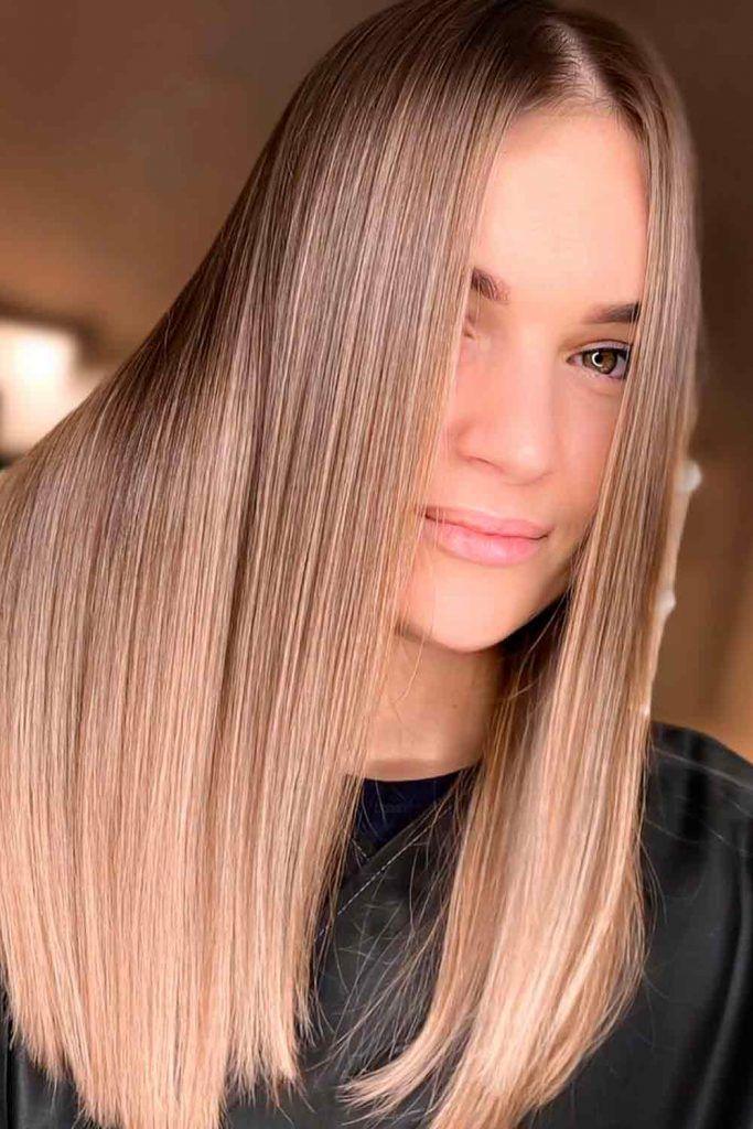Golden Brown Balayage For Straight Hair #straighthair #sleekhair