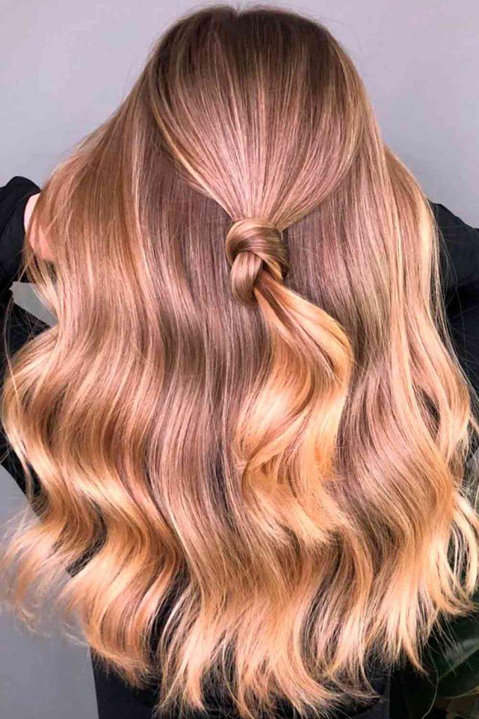 Golden Brown Partial Highlights #glossyhair #prettyhairstyles