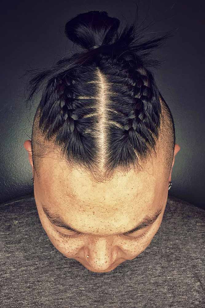 Men's Braids And Bun #manbun #manbraid #braidedbun
