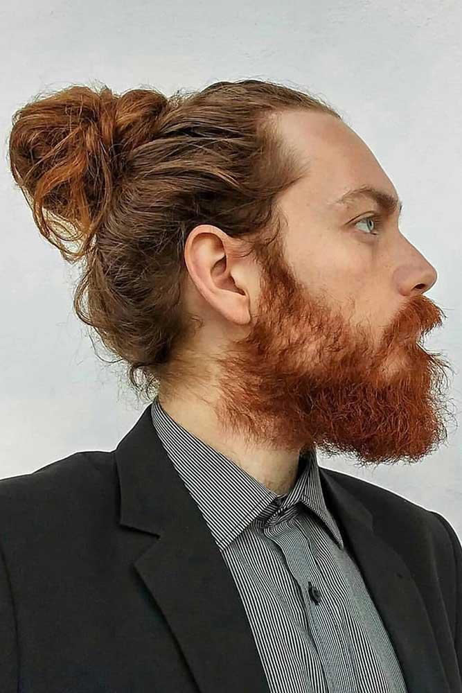 Messy Man Bun #manbun #vikinghair #messybun #beard