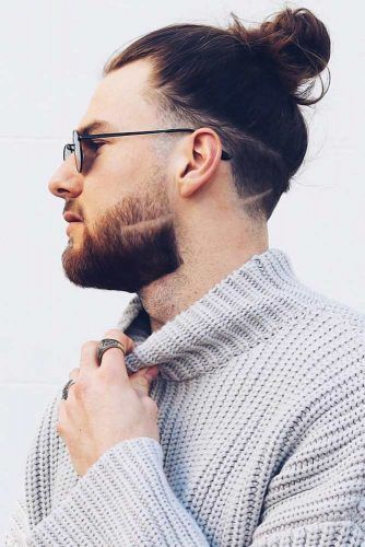 Bun With Shaved Lines #manbun #buns