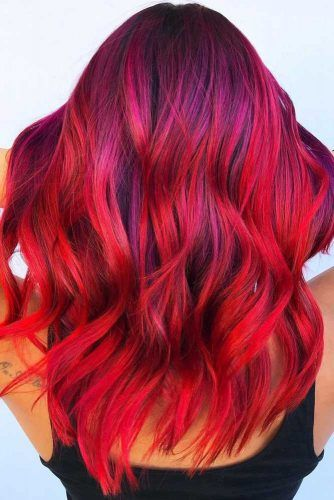 Fiery Magenta On Purple #redhair #highlights