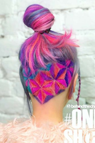 Geometric Flower Design #undercutdesigns #haicuts #longhair